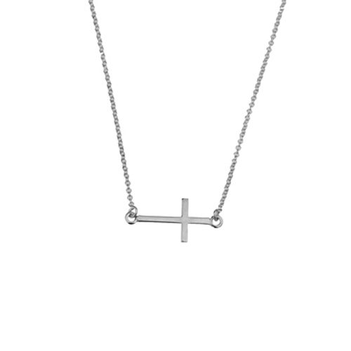 collar cruz horizontal plata