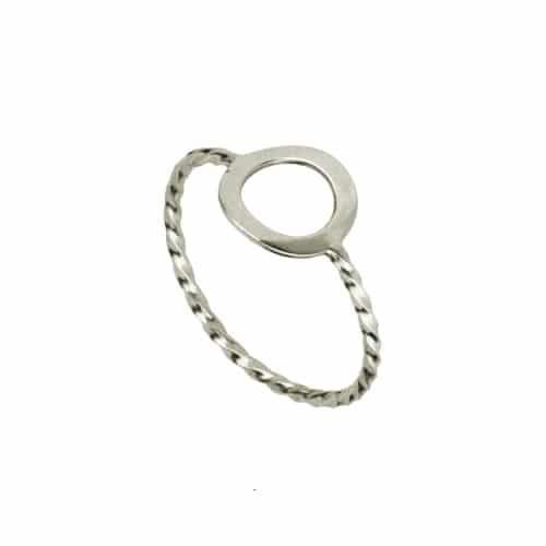 anillo circulo trenzado plata