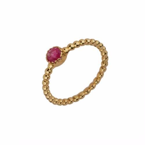 anillo cuarzo rojo oro