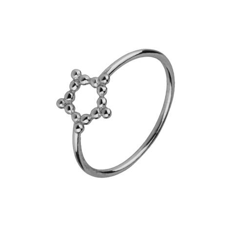 anillo estrella hueca plata