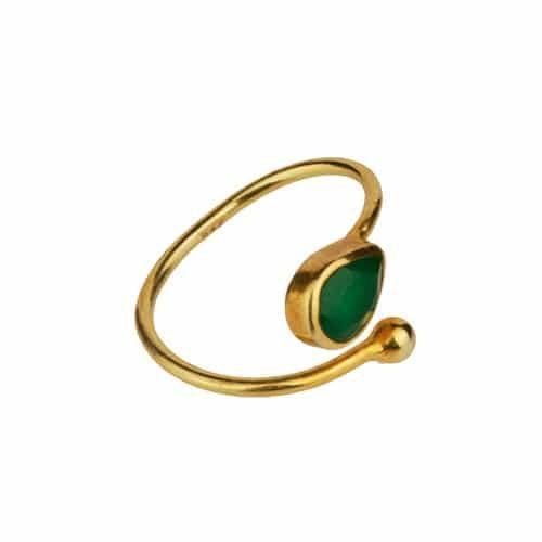 anillo onix verde oro