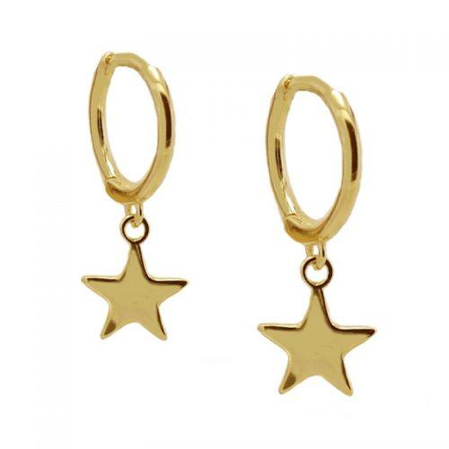 aros con estrella dorados
