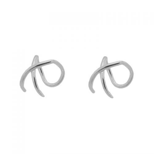 ear cuff cruzado de plata