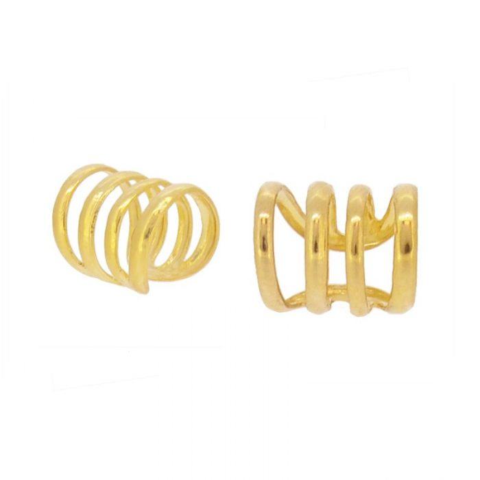 pendientes ear cuff cuatro aros dorados