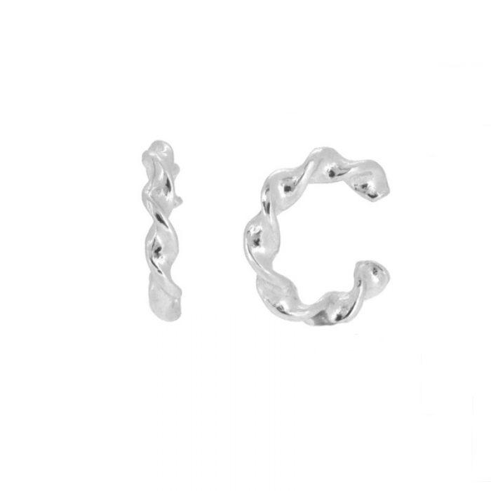 Pendientes ear cuf trenzado de plata cocobiyu