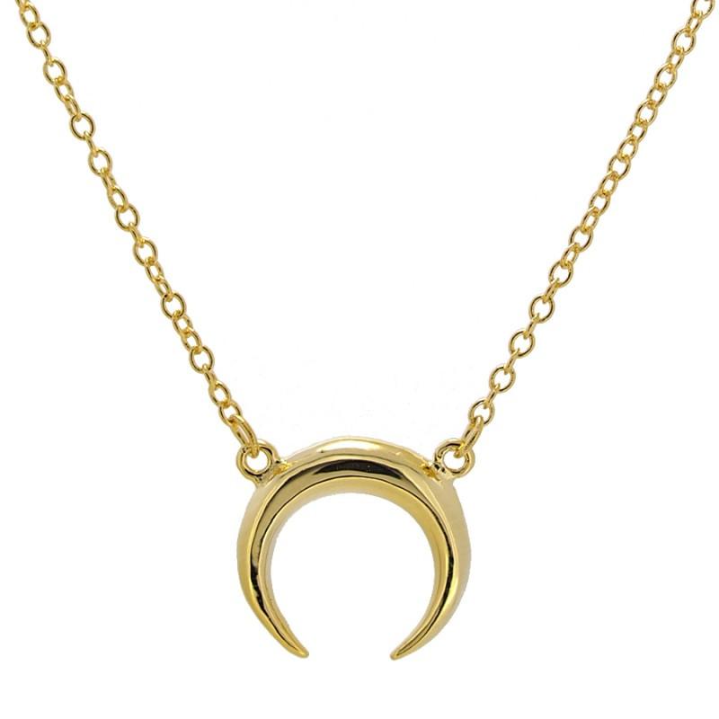 collar cuerno luna acabado en oro