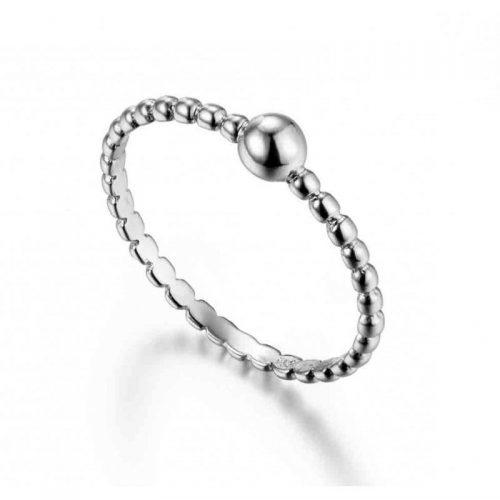 anillo plata bolitas