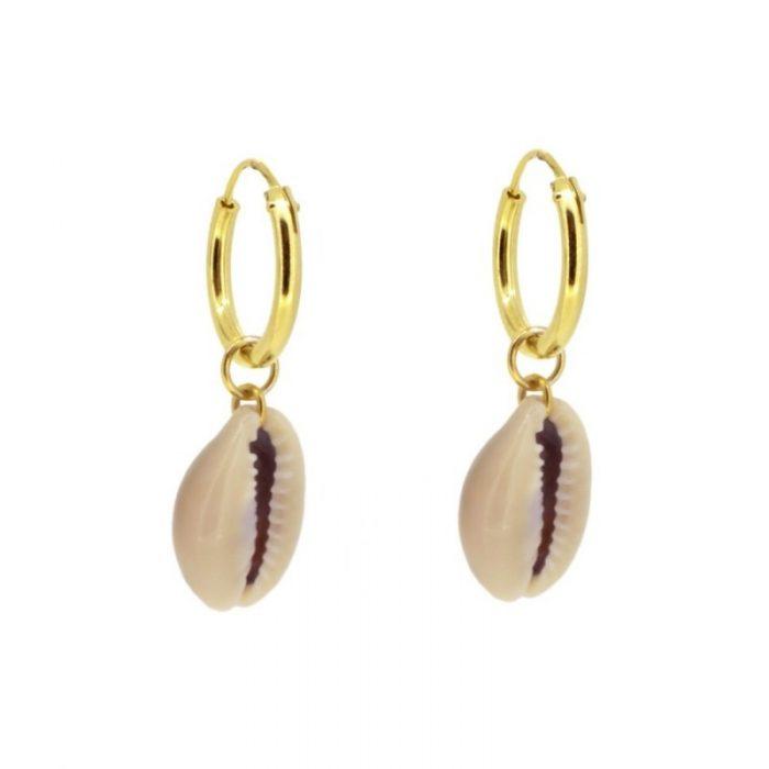 aros con concha de mar oro