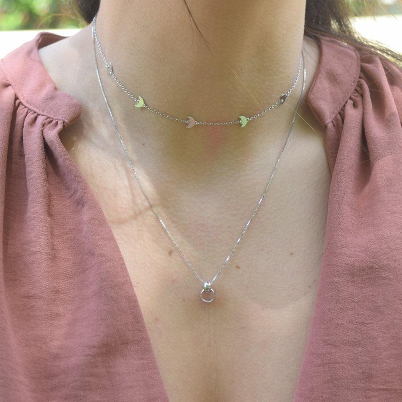collar dos aros plata