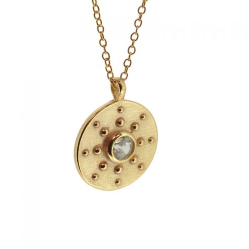collar moneda con circonitas oro