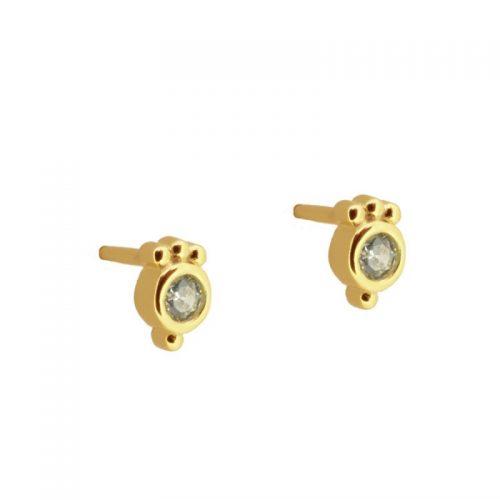 pendientes pequeños circonitas oro